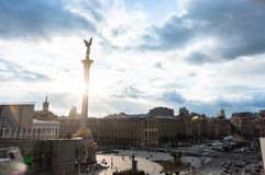 Kiev city life with dramatic sky Stock Image