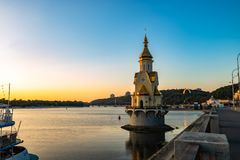 Kiev city morning Dnipro tourism Europe travel. Sunset church on water Royalty Free Stock Photos
