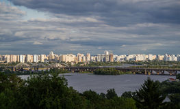 Kiev cityscape and Dnieper river, Ukraine Royalty Free Stock Images