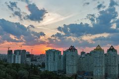 Kiev cityscape at sunset, Ukraine. Royalty Free Stock Photography