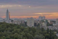 Kiev cityscape at sunset, Ukraine Royalty Free Stock Photos