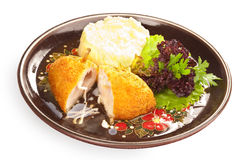 Kiev cutlet with mashed potato Royalty Free Stock Photo