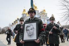 KIEV, de OEKRAÏNE - April 3, 2015: Begrafenisceremonie voor Oekraïense militair Igor Branovitskiy die in de oostelijke Oekraïne w Royalty-vrije Stock Foto