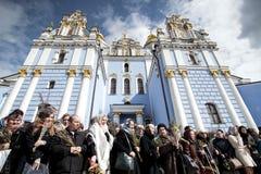 Kiev, de Oekraïne - April 5, 2015: Christian Palm Sunday in Kiev Stock Foto