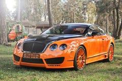 Kiev, de Oekraïne; 10 april, 2015 Het Ras Mansory van Bentley Continental GT in het bos stock afbeelding