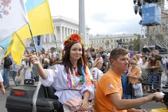 KIEV, de OEKRAÏNE - 24 AUGUSTUS 2013 - Indipendence-dag Royalty-vrije Stock Afbeeldingen