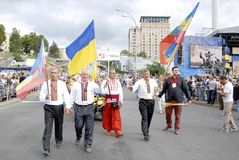 KIEV, de OEKRAÏNE - 24 AUGUSTUS 2013 - Indipendence-dag Stock Fotografie