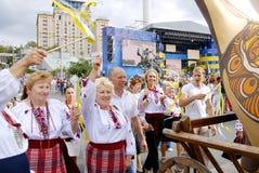 KIEV, de OEKRAÏNE - 24 AUGUSTUS 2013 - Indipendence-dag Stock Foto