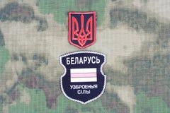 KIEV, de OEKRAÏNE - Augustus 2015 Witrussische vrijwilligers in het Leger van de Oekraïne De russisch-Oekraïne oorlog 2014 - 2015 Stock Foto's