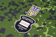 KIEV, de OEKRAÏNE - Augustus 2015 Witrussische vrijwilligers in het Leger van de Oekraïne De russisch-Oekraïne oorlog 2014 - 2015 Royalty-vrije Stock Afbeelding