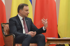KIEV, de OEKRAÏNE - December 15, 2015: Officieel bezoek van de President van de Republiek Polen Andrzej Duda in de Oekraïne Royalty-vrije Stock Foto's