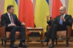 KIEV, de OEKRAÏNE - December 15, 2015: Officieel bezoek van de President van de Republiek Polen Andrzej Duda in de Oekraïne Stock Foto's