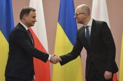 KIEV, de OEKRAÏNE - December 15, 2015: Officieel bezoek van de President van de Republiek Polen Andrzej Duda in de Oekraïne Stock Afbeeldingen