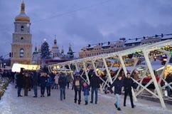 KIEV, de OEKRAÏNE - December 23, 2017: Verfraaid voor Kerstmis en Nieuwjaar Sophia Square in Kiev Stock Afbeelding