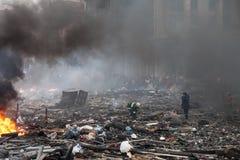 KIEV, de OEKRAÏNE - Februari 19, 2014: Massa anti-government protesten Stock Fotografie
