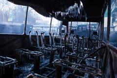 KIEV, de OEKRAÏNE - Januari 20, 2014: De ochtend na hevig royalty-vrije stock foto's