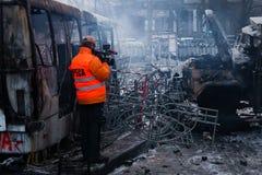 KIEV, de OEKRAÏNE - Januari 20, 2014: De ochtend na hevig stock foto