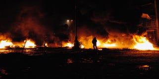 Kiev, de Oekraïne, 22 Januari, 2014 de vergadering bij de achtergrond van Stock Afbeelding