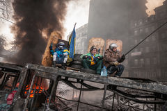 KIEV, de OEKRAÏNE - Januari 25, 2014: Massa anti-government protesten Stock Afbeelding