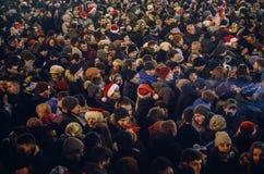 Kiev, de Oekraïne - 1 Januari, 2017: Sophiavierkant De mensen vieren Nieuwjaar Royalty-vrije Stock Afbeelding