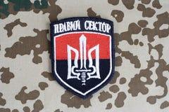 KIEV, de OEKRAÏNE - Juli 2015 Chevron van Oekraïense vrijwilligerskorpsen met de woorden Royalty-vrije Stock Foto's