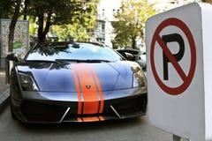 Kiev, de Oekraïne - Juli 1, 2012; Lamborghini Gallardo lp560-4 stock foto