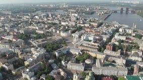 Kiev de Oekraïne in de lucht cinematic mening van 4k stock footage