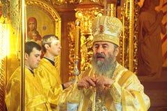 Kiev, de Oekraïne, 12 Maart 2016 Metropolitaans van Kiev Onufry conduc Royalty-vrije Stock Foto's