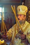 Kiev, de Oekraïne, 12 Maart 2016 Metropolitaans van Kiev Onufry conduc Royalty-vrije Stock Afbeeldingen