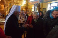 Kiev, de Oekraïne, 12 Maart 2016 Metropolitaans van Kiev Onufry conduc Stock Afbeeldingen