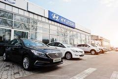 Kiev, de Oekraïne - Maart 22, 2017: Nieuw Hyundai-Accent, Sonate, Tucs Stock Foto's
