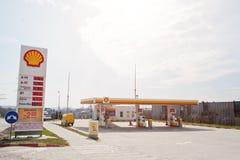 Kiev, de Oekraïne - Maart 22, 2017: Shell-benzinestation Royal Dutch S Royalty-vrije Stock Afbeeldingen