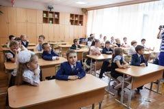 kiev De Oekraïne, Mei-26.2017-kinderen schoolkinderen zit op school Royalty-vrije Stock Fotografie