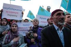 KIEV, de OEKRAÏNE - 18 Mei, 2015: Krimtatars merken de 71ste verjaardag van de gedwongen deportatie van Krimtatars van de Krim Royalty-vrije Stock Afbeeldingen