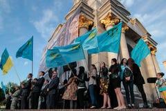 KIEV, de OEKRAÏNE - 18 Mei, 2015: Krimtatars merken de 71ste verjaardag van de gedwongen deportatie van Krimtatars van de Krim Royalty-vrije Stock Fotografie