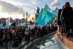 KIEV, de OEKRAÏNE - 18 Mei, 2015: Krimtatars merken de 71ste verjaardag van de gedwongen deportatie van Krimtatars van de Krim Royalty-vrije Stock Foto