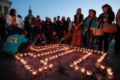 KIEV, de OEKRAÏNE - 18 Mei, 2015: Krimtatars merken de 71ste verjaardag van de gedwongen deportatie van Krimtatars van de Krim Stock Afbeeldingen