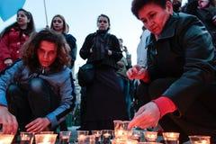 KIEV, de OEKRAÏNE - 18 Mei, 2015: Krimtatars merken de 71ste verjaardag van de gedwongen deportatie van Krimtatars van de Krim Stock Foto