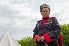Kiev, de Oekraïne - Mei 09, 2018: Mens in de vorm van Don Cossack dat aan de kant van Wehrmacht vocht royalty-vrije stock foto's