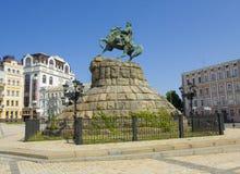 Kiev, de Oekraïne, monument aan Bogdan Khmelnitskiy stock foto