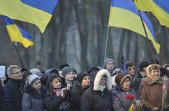 KIEV, de OEKRAÏNE - 28 Nov., 2015: De voorzitter van de Oekraïne Petro Poroshenko en zijn vrouw herdacht de slachtoffers van de h Stock Foto