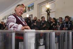 KIEV, de OEKRAÏNE - Oktober 25, 2015: Regelmatig geplande lokale verkiezingen in de Oekraïne Stock Foto