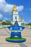 Kiev, de Oekraïne, UEFA-de Definitieve 2018 Symbolen van de Kampioenenliga, Royalty-vrije Stock Foto's