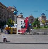 Kiev de stad in, op Maydan Nezalejnosti, de Oekraïne Royalty-vrije Stock Fotografie