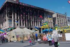 Kiev de stad in, op Maydan Nezalejnosti, de Oekraïne Stock Foto's