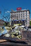 Kiev de stad in, op Maydan Nezalejnosti, de Oekraïne Stock Fotografie