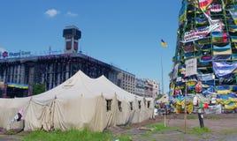 Kiev de stad in, op Maydan Nezalejnosti, de Oekraïne Stock Foto