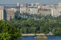 Kiev, Dnipro embankment and residential areas Stock Photo