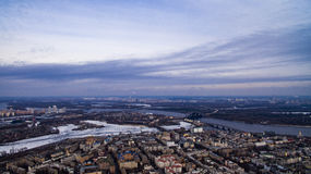 Kiev. Dnipro river from the sky by drone. Ukraine. Aerial photography of Dnipro river in Kiev by drone Royalty Free Stock Images