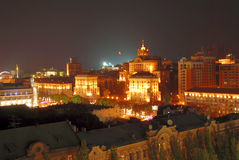 Kiev Downtown at Night Stock Images